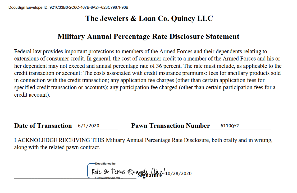 Pawn Loan Transparency Disclosure