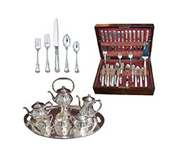 silver flatware and tea sets